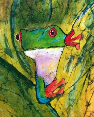 Tapestry - Textile - Peek-a-boo Frog by Kay Shaffer