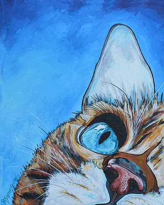 Cat Painting - Peek A Boo by Patti Schermerhorn