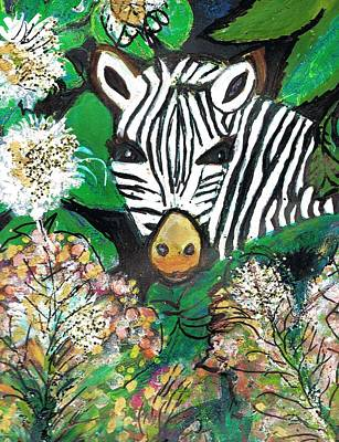 Peek-a-boo Zebra Art Print by Anne-Elizabeth Whiteway