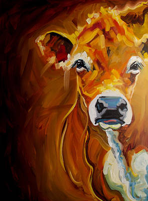 Cow Art Painting - Peek Cow by Diane Whitehead