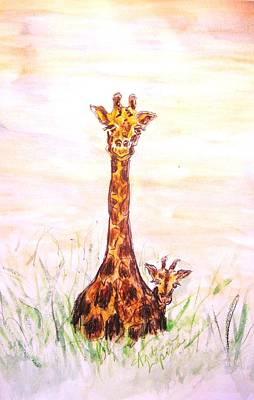 Mother And Baby Giraffe Painting - Peekaboo Giraffe And Baby by Andrea Flint Lapins