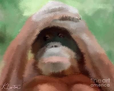 Cute Monkey Drawing - Peekaboo Orangutan  by Karen Larter