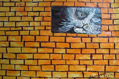Painting - Peeking  Cat by Anand Swaroop Manchiraju