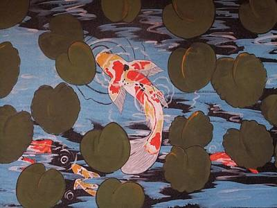 Peeking Koi Art Print