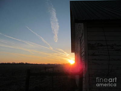 Peeking Through The Barn Sunrise Art Print