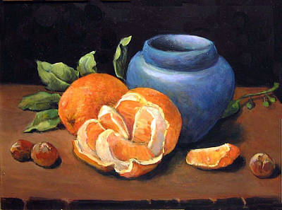 Pottery Painting - Peeled Orange by Donna Tucker