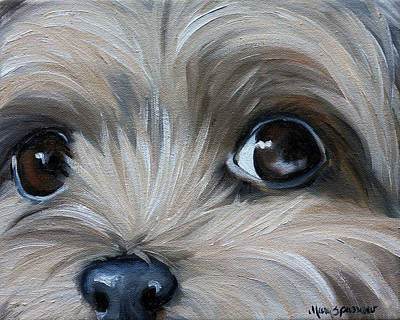 Yorkshire Terrier Wall Art - Painting - Peeper by Mary Sparrow
