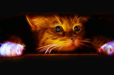 Kitten Digital Art - Peeping At The Fireplace by Tilly Williams