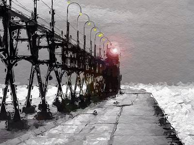 Wave Mixed Media - Peer To The Lighthouse by Steve K