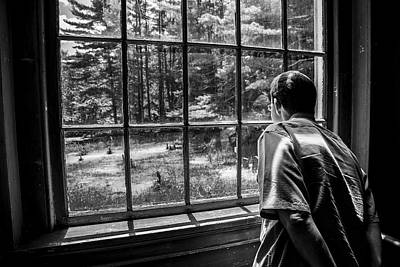Photograph - Peering Out The Window Bw by Karol Livote