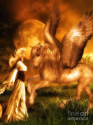 Pegasus And The Maiden Art Print by Putterhug  Studio