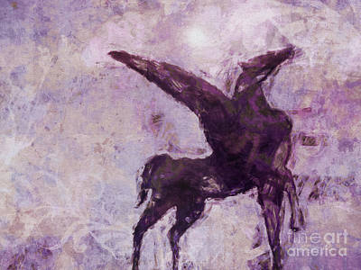 Unicorn Mixed Media - Pegasus Antique by Lutz Baar