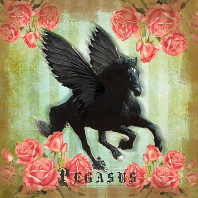 Black Friesian Digital Art - Pegasus by Graphicsite Luzern