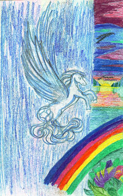 Childrens Art Drawing - Follow The Rainbow by Kd Neeley