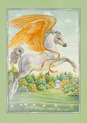 Greek Temple Painting - Pegasus by Lynn Bywaters