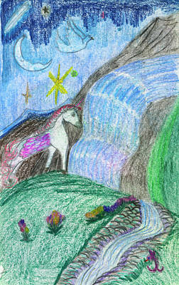 Childrens Art Drawing - Pegasus Nearing The Secret Passage by Kd Neeley