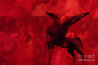 Unicorn Mixed Media - Pegasus Red by Lutz Baar