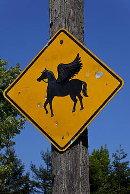 Pegasus Wall Art - Photograph - Pegasus Road Sign by Garry Gay