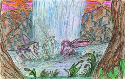 Super Dog Drawing - Falling Baths by Kd Neeley