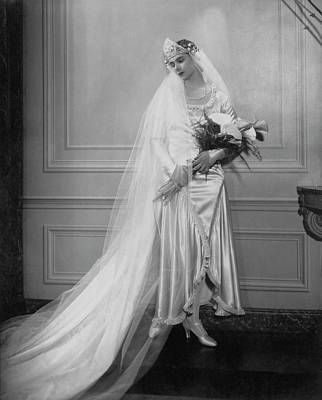 Photograph - Peggy Fish Wearing A Wedding Dress by Edward Steichen