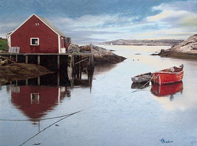 Drawing - Peggys Cove by Brent Ander