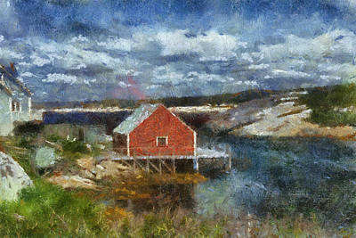 Digital Art - Peggy's Cove by Cindy Rubin