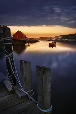 Docked Photograph - Peggy's Cove Harbour by Magda  Bognar