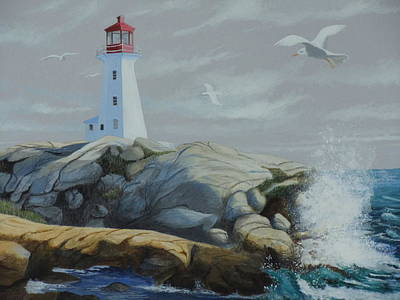 Painting - Peggy's Cove Lighthouse by James Lawler