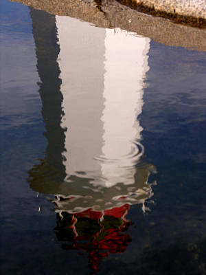 Photograph - Peggys Cove Lighthouse Reflection 2 by Robert Lozen
