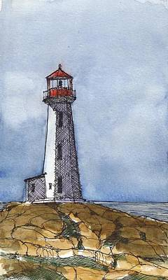 Nova Scotia Wall Art - Mixed Media - Peggy's Cove Lighthouse by Tim Oliver
