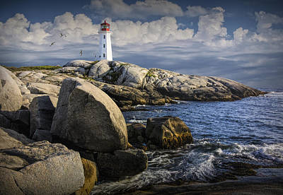 Photograph - Peggys Cove Lighthouse With Flying Gulls by Randall Nyhof