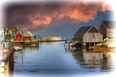 St Margaret Digital Art - Peggys Cove Nova Scotia Near Sunset by John Haldane