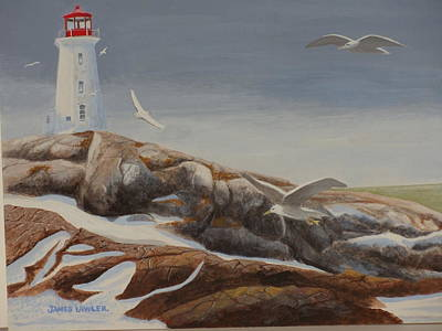 Painting - Peggy's Cove  Winter by James Lawler