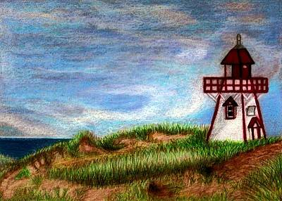 Drawing - Pei Lighthouse by Jo Prevost