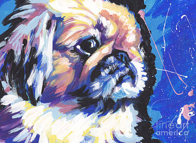 Dog Pop Art Painting - Peke A Boo by Lea S