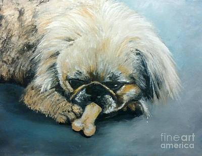 Painting - Pekinese And The Bone by Yoursbyshores Isabella Shores