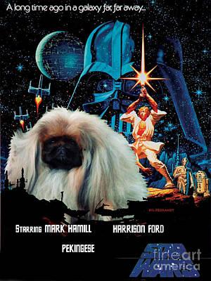 Pekingese Painting - Pekingese Art - Star Wars Movie Poster by Sandra Sij