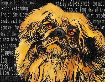 Purebred Digital Art - Pekingese - Worded by Marlene Watson