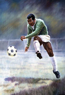 Soccer Ball Painting - Pele by Gregory Perillo