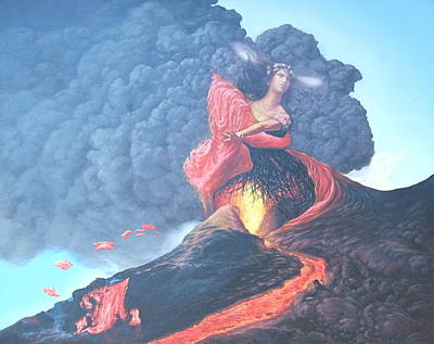 Pele Painting - Pele Hawaiian Goddess Of Volcanoes by Tom Hooper