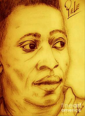 Pele Drawing - Pele In Brazillian Gold by Collin A Clarke