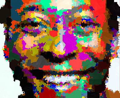 Painting - Pele Portrait - Abstract by Samuel Majcen