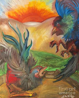 Latino Painting - Pelea De Gallos Cockfight by Luis Velez