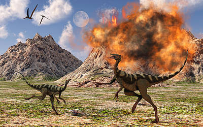 Ostrich Digital Art - Pelecanimimus Dinosaurs Fleeing by Mark Stevenson