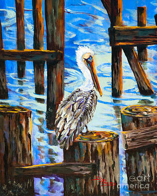 Pelican And Pilings Art Print