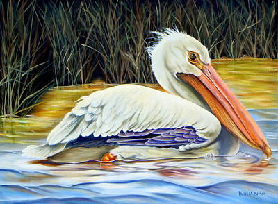 Art Print featuring the painting Pelican At East Pearl by Phyllis Beiser