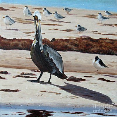 Art Print featuring the painting Pelican Beach by Jimmie Bartlett