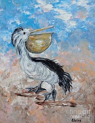 Blue Painting - Pelican Beach Walk - Impressionist by Eloise Schneider