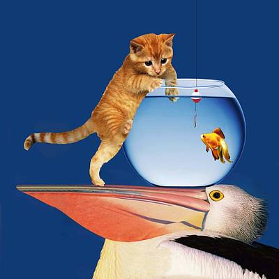 Goldfish Digital Art - Pelican Cat Goldfish And Worm by Bruce Iorio
