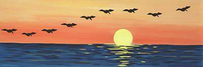 Beach Bird Painting - Pelican In Flight by Jennifer Peck